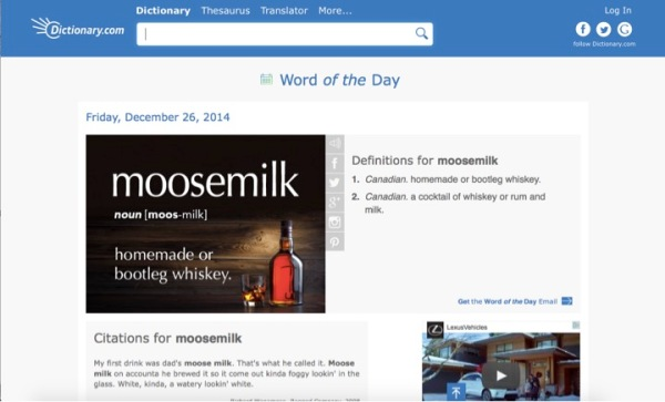 "What character would use this word?  When would the protagonist come in contact with ""moose milk""?"